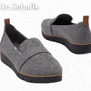 Dr. Scholl's Wool Plaid Fabric Platform Loafer EUC